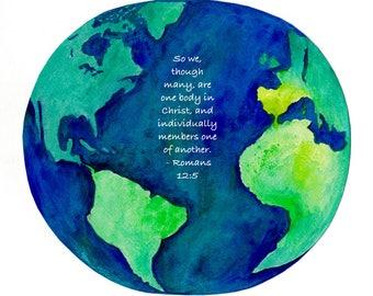Romans 12:5 Pastor gift earth Bible verse watercolor print