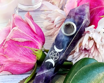 CRYSTAL PIPE - Amethyst pentagram pipe, triple moon goddess, smoking bowl, witch, ritual, natural crystal, witchy, paganism, pagan