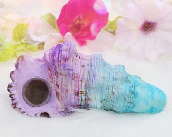 SHELL PIPE - Mermaid boho smoking bowl, natural seashell pipe, pastel girly pipe, unique gift