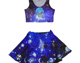 30144276425 GALAXY RAVE SET - alien space theme holographic festival outft