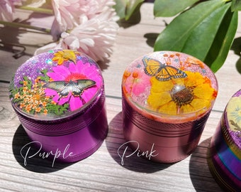 FLOWER HERB GRINDER - Butterfly garden 3D glass top, real pressed flowers, smoking accessories, smoking gifts, moon and stars, resin