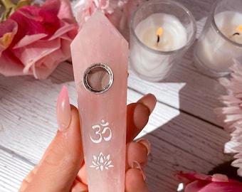 CRYSTAL PIPE - Rose quartz Lotus Om gemstone pipe, boho smoking pipe, pink smoking bowl, moon child, witchy girly pipe, gift, meditation