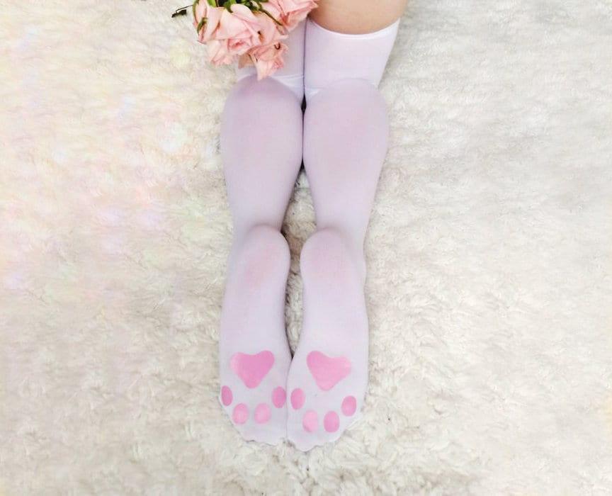 c053360594c93 KITTEN PLAY LINGERIE thigh-high white kitten play gear   Etsy