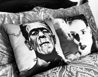 FRANKENSTEIN COUPLE PILLOWS - Halloween Pillow, spooky bedroom decor, nightmare, gothic, victorian, romantic