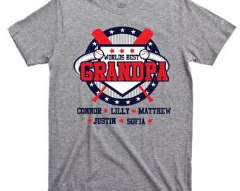 5b9355e8 Personalized baseball grandpa t-shirt, Best grandpa shirt, Custom grandpa  shirt, Funny Poppa shirt, Gift from grandkids, Best grandpa gift