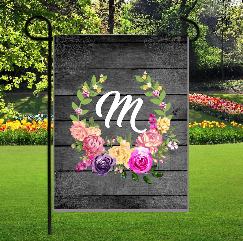 Personalized Garden Flags Family Name Flag Initial Garden Etsy