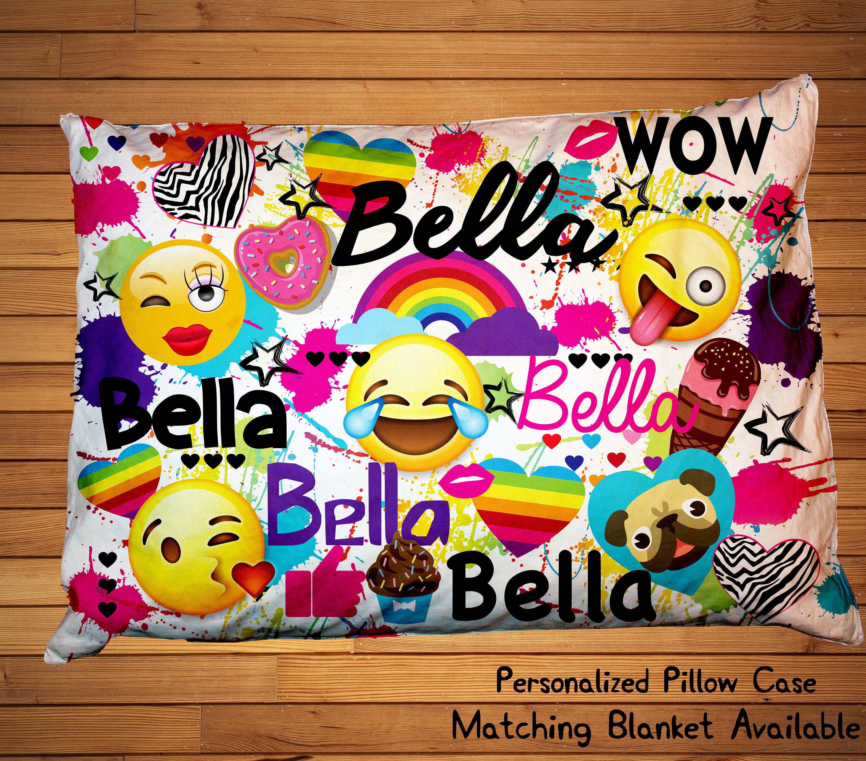 Personalized Emoji Pillowcase, 20x30 Custom Emoji Bedding, Emoji Name  Pillow, Girls Room Decor, Emoji, Ice Cream, Sweets Pillow Case