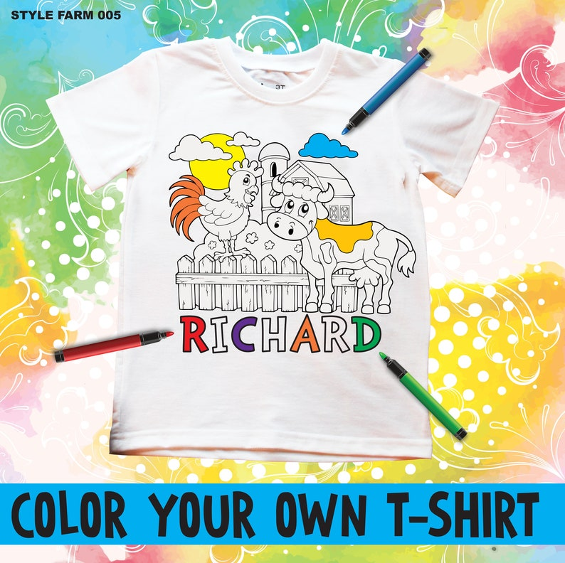 3da6f6b59 Color Your Own Tshirt Personalized Coloring Shirt For Kids | Etsy