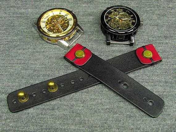 handgefertigte leder farbe schwarz uhrenarmband 16mm 18mm. Black Bedroom Furniture Sets. Home Design Ideas