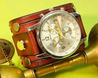 Handmade Brown cognac Watch cuff strap, Mens Leather Watch strap, Leather Watch band 18mm, 20mm, 22mm, 24mm, Watch band, 070
