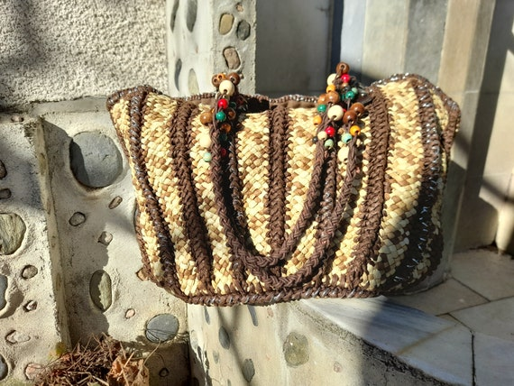 Vintage straw bag / Shoulder bag / Bead bag