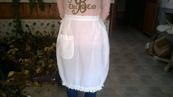 Vintage white, cotton apron /Victorian Apron White