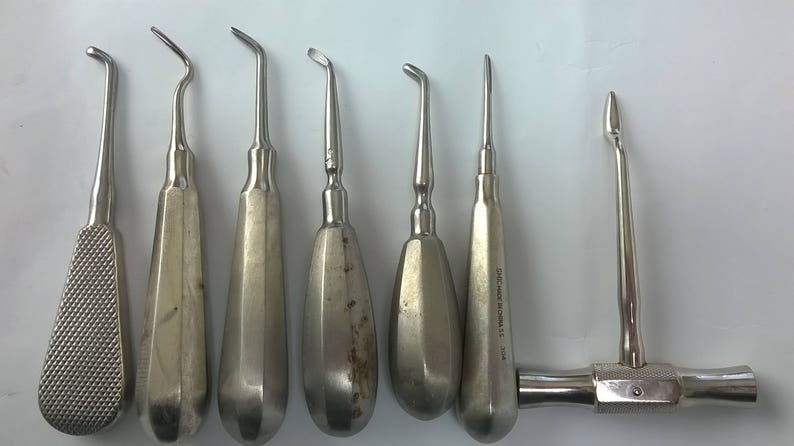 Vintage Dentist Tools Dental Tools Tooth Extraction r Stainless Steel  Vintage Medical Equipment Old Dental Instruments Seth from 7 tools