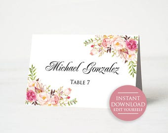 Wedding Place Card Printable Template Floral Table Cards Rustic Editable Name