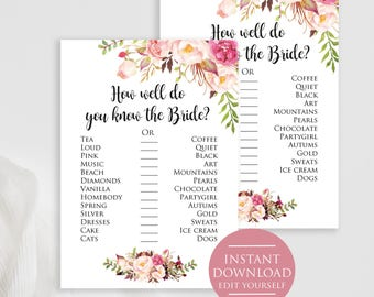 Who am i bridal shower game rustic floral bridal shower game etsy how well do you know the bride boho bridal party game printable bridal shower game bridal shower games printable watercolor floral solutioingenieria Gallery