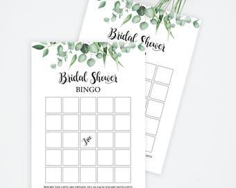 Bridal Bingo, Bingo printable, Greenery bingo, Bridal Shower, Bridal Bingo Instant Download, bridal bingo cards, bridal bingo printable,