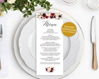 Menu Printable Template, Wedding Menu Card, Wedding Menu Template, Menu Template, Editable Menu Template, Menu Printable Wedding, 4x9.5 menu