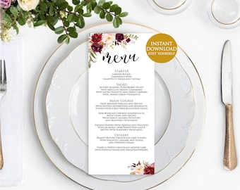 Wedding menu template, Wedding template, Editable menu, Rustic wedding menu Printable menu cards, Marsala wedding menu, Instant download