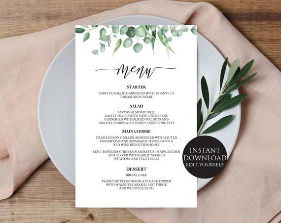 Wedding Menu Template Wedding Menu Editable Greenery Wedding Menu Menu Template Wedding Menu Printable