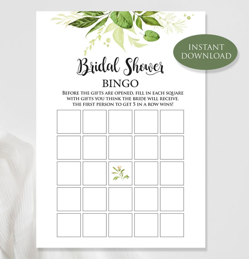 Bridal Shower Bingo Green Bridal Bingo Bridal Shower Etsy