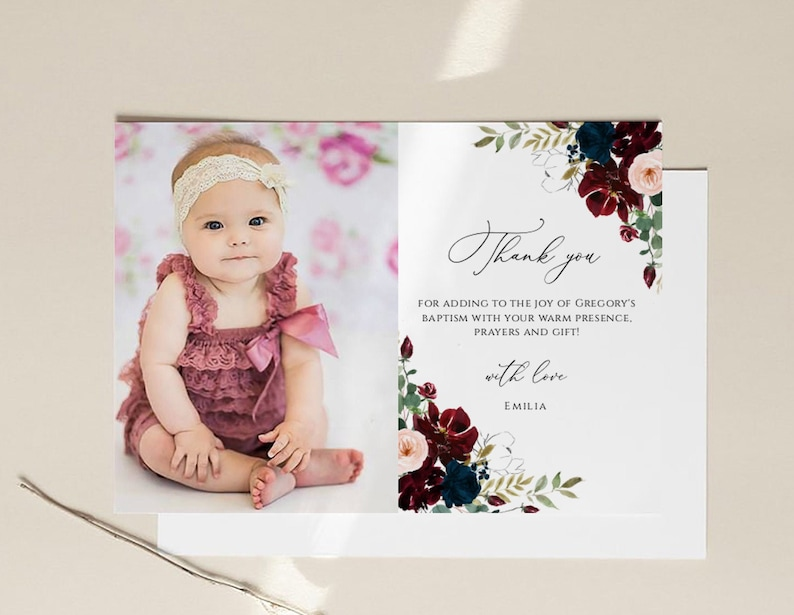 Baptism Thank You Card Template Instant Download Thank You ...