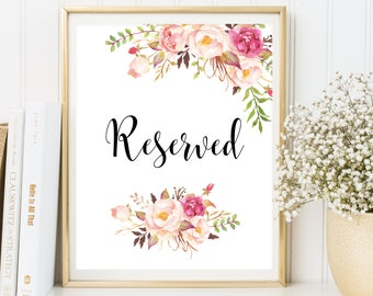 Reserved Sign, Reserved Table Sign, PRINTABLE Wedding reserved, Wedding Reserved Signs, Reserved Seating Sign Instant Download