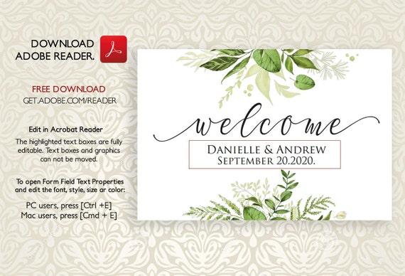Wedding Welcome Sign Welcome Sign Template Printable Welcome Wedding Sign Greenery Welcome Signs Wedding Greens Sign Horizontal Landscape