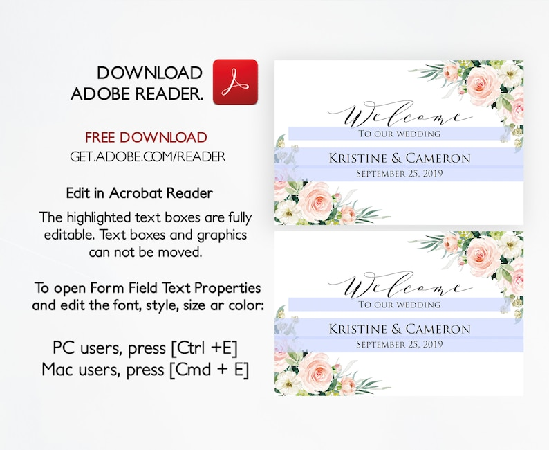 Wedding Welcome Sign Template, Welcome to our Wedding Sign Template,  Wedding Welcome Sign Printable, Wedding Signs, Editable Welcome #IKL910