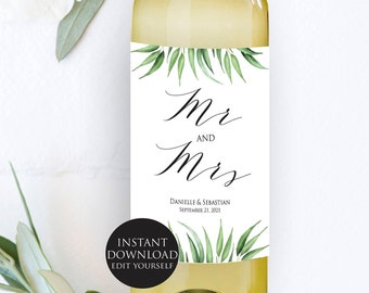 Mr and Mrs Wine Label, Wedding Printable, Burgundy, Greenery label, Printable botanical, Wedding Template, PDF Instant Download