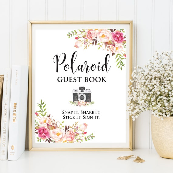 Wedding Memory Book Ideas: Polaroid Guest Book Sign Photo Guest Book Floral Wedding