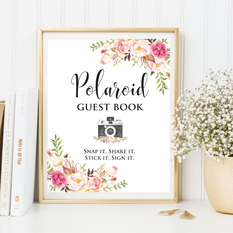 Polaroid Wedding Guest Book.Polaroid Wedding Guest Book Sign Photo Guest Book Floral Wedding Photo Guestbook Sign Guest Book Alternative Floral Polaroid Printablesign