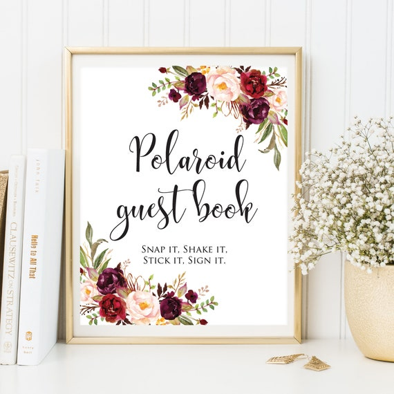 Polaroid Guest Book: Polaroid Guest Book Sign Photo Guest Book Floral Wedding
