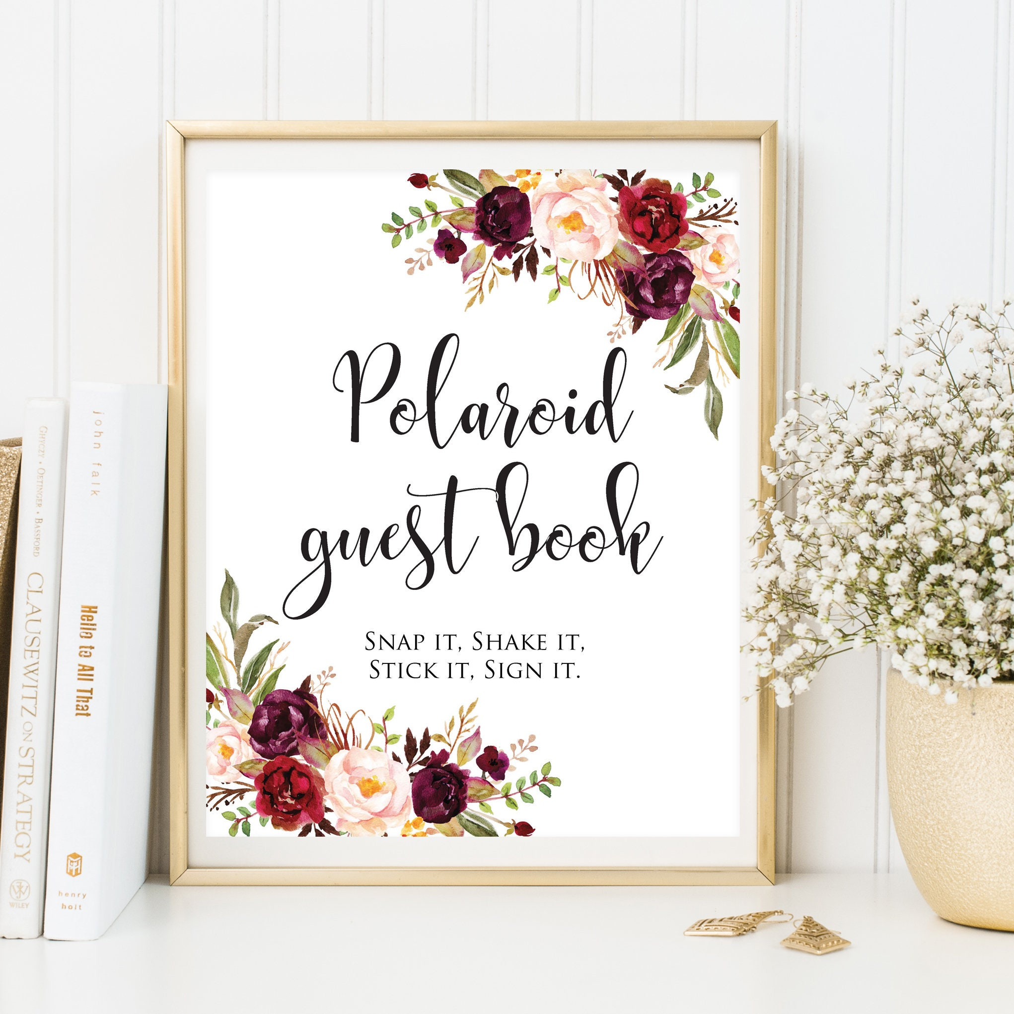 Polaroid Guest Book Sign Photo Guest Book Floral Wedding