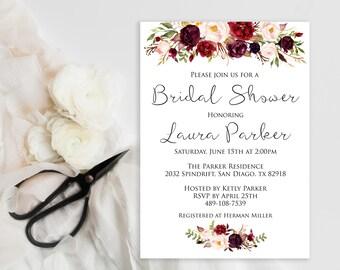 Bridal Shower Invitation INSTANT DOWNLOAD, Watercolor, roses, marsala, Editable Bridal Shower Invite Template,