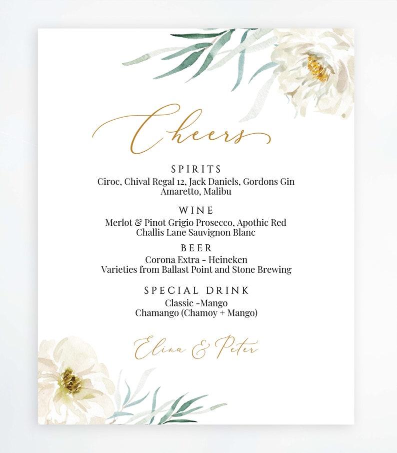 Cheers wedding sign wedding bar menu Printable Wedding Sign Drinks Menu Wedding bar template Wedding Template Signature Drinks