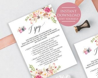 I Spy Game Card, Marsala I Spy Wedding Game, Wedding Game Printable, Marsala Blooms, Wedding Scavenger Printable,
