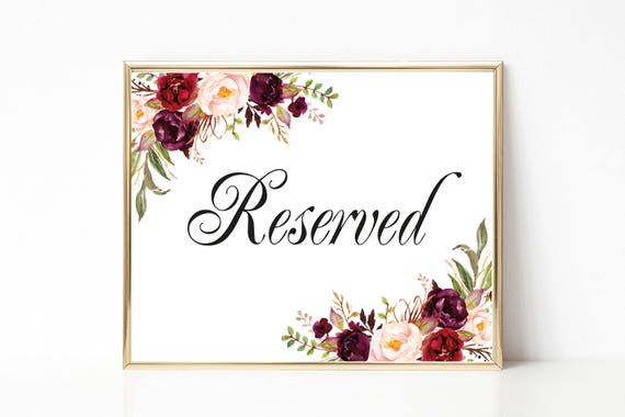 Reserved Sign Wedding Table Card