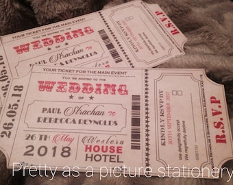movie ticket wedding invitation etsy