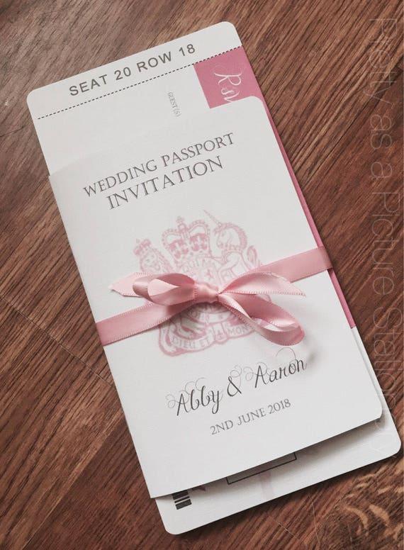 Sample Wedding Passport Invitationabroad Wedding Etsy