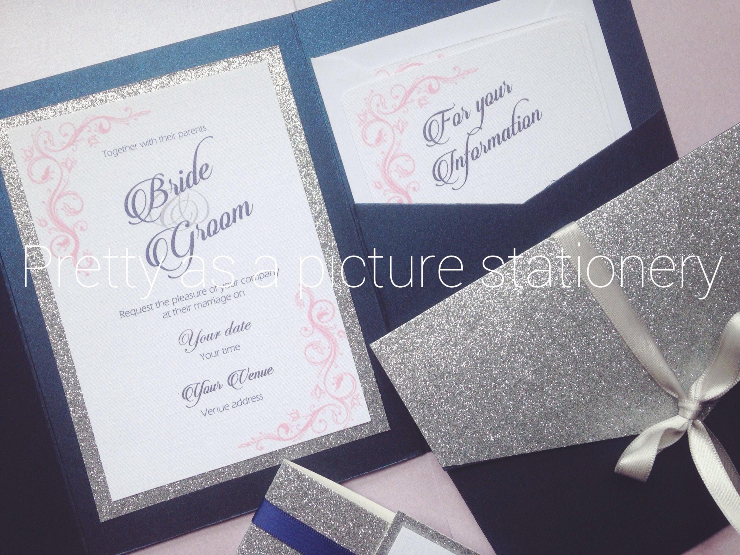 Wedding Invitation Pocket Fold: Pocket Fold Wedding Invitation Glitter Wedding Invites