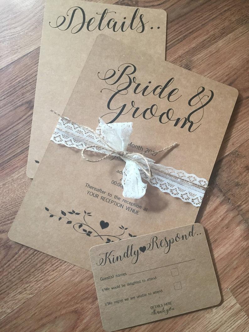 Invito Matrimonio Rustico : Inviti matrimonio rustico kraft matrimonio invito invito di etsy