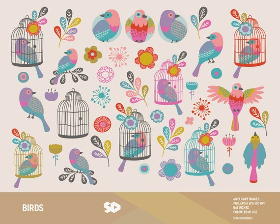 Birds clipart  Floral clip art, bird cages clipart, leaves, bird  scrapbooking, flowers  Vector printable, illustration  Commercial use