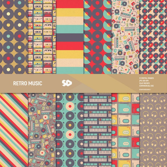 Retro Music Digital Paper Pack Mid Century Scrapbook Pages Etsy
