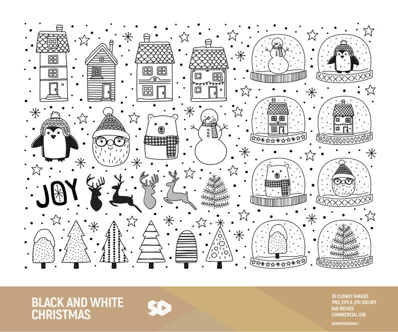Black And White Christmas Clipart.Black And White Christmas Clipart Santa Clip Art Christmas Tree Snow Winter House Draw Doodle Vector Illustration Commercial Use