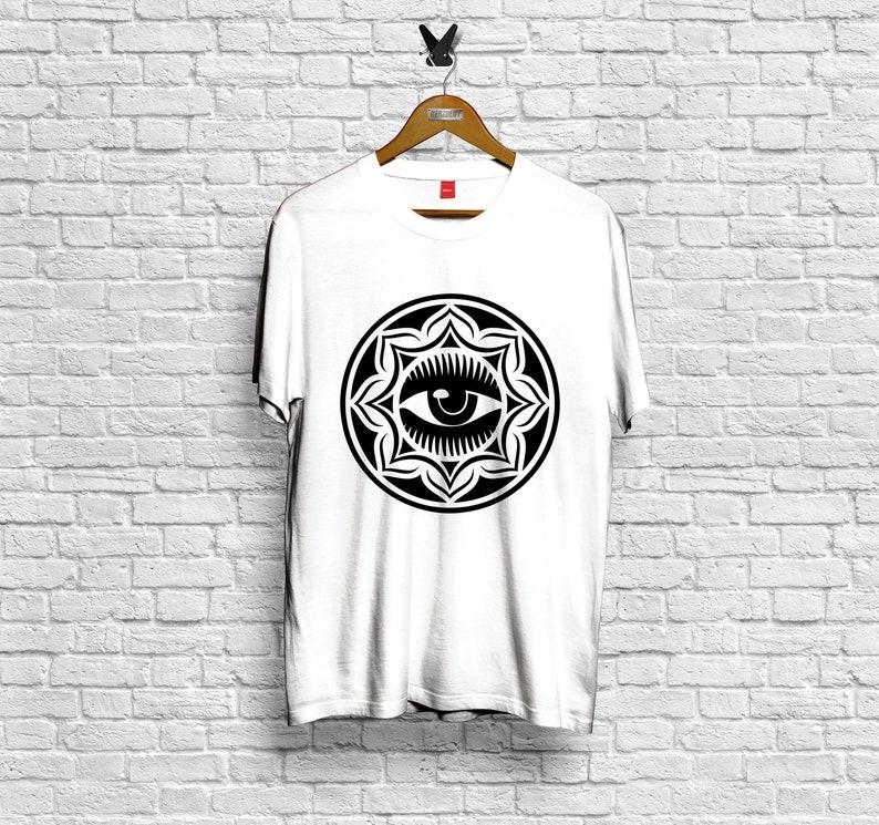 5b2eacd00 HERZBLUT THE EYE white t-shirt organic fair-trade unisex | Etsy