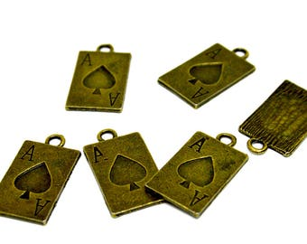 1  CARD - ALICE- Heart -  Antique  Bronze Charm - Pendants