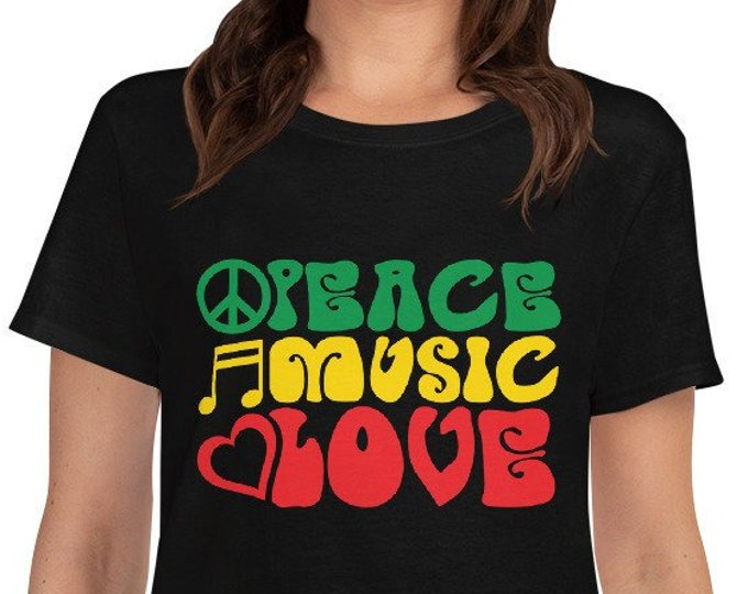 Peace Music Love - rasta women's t-shirt