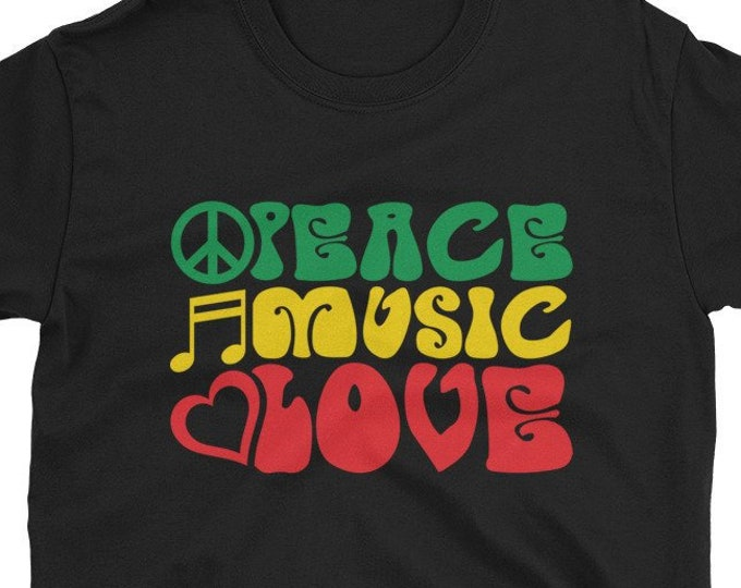 Peace, Music, Love - rasta t-shirt