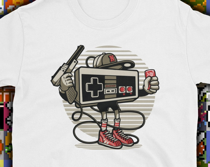Let's Play Retro nes gamer t-shirt