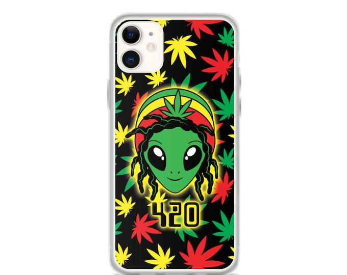 Rasta Alien - 420 Weed iPhone Case (Iphone 11, 11 pro, X, XR, XS)
